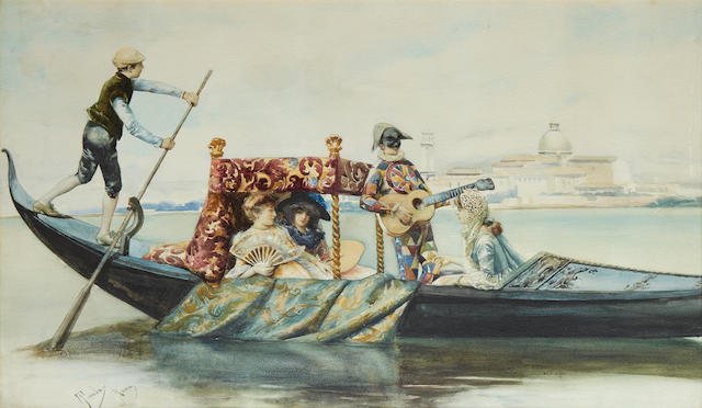 Casimiro Tomba (Italian, 1857-1929) The boating party