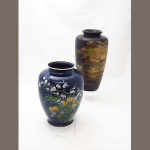 A cloisonne vase by the Ando Jubei studio and a lacquer vase Circa 1900