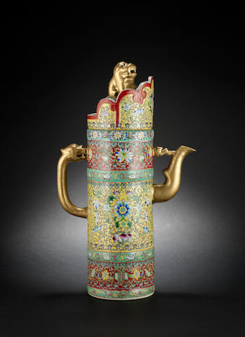 A Tibetan style famille rose ewer and cover Qianlong six-character mark