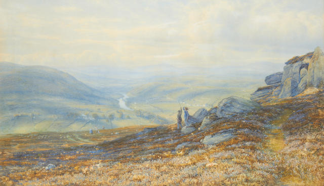 Edmund George Warren (British, 1834-1909) Figures above a valley