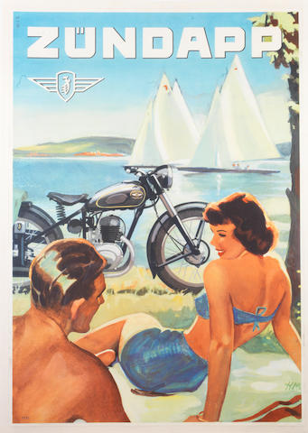A Zundapp motorcycle advertising poster, circa 1953,