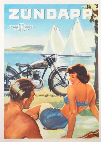 A Zundapp motorcycle advertising poster, circa 1953,