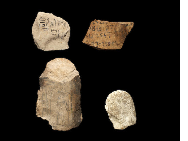 Four Egyptian limestone and pottery ostraka 4
