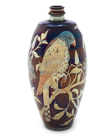 Jonathan Chiswell Jones a Unique Lustre Vase with Bird of Prey, 2012