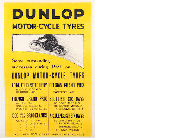 A '1921 Dunlop Motor-Cycle Tyres' successes poster,