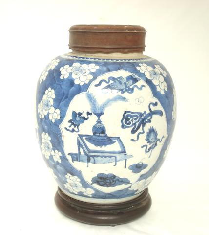 A blue and white ginger jar Probably 18th century