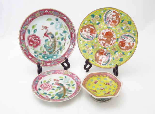 A set of four famille rose plates and four other items of porcelain Late 19th century