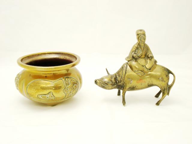 A small tripod censer and a 'Laozi and buffalo' censer Late 19th/early 20th century