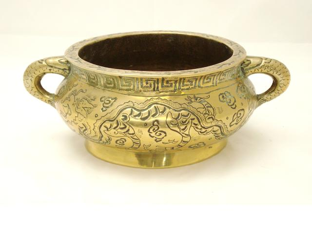 A bronze censer with engraved designs Circa 1900