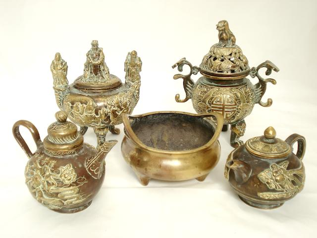 Three bronze censers and two bronze teapots 19th century and later
