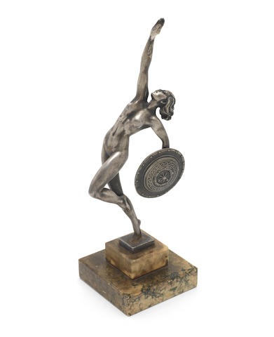 Raymonde Guerbe a Silvered Bronze Model of a Naked Female with Shield, circa 1925