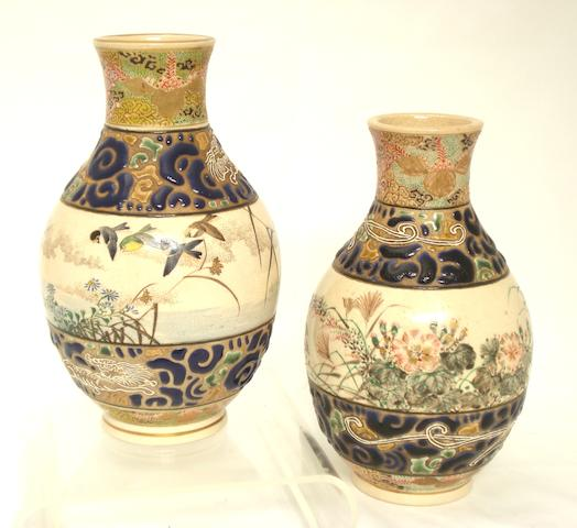 A pair of Satsuma vases by Taizan Meiji