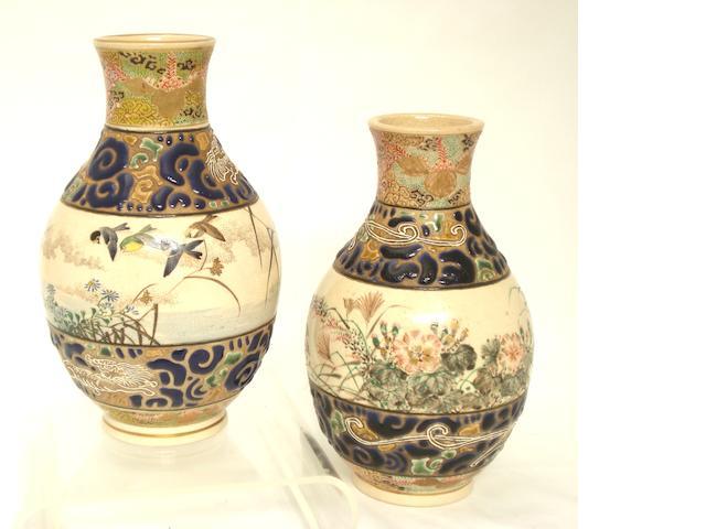A pair of Satsuma vases by Taizan Meiji