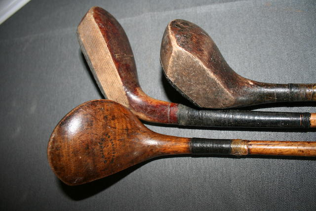 A Tom Morris scared neck wooden headed putter circa 1920s