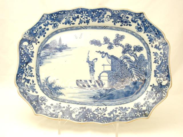 Three blue and white plates All 18th century
