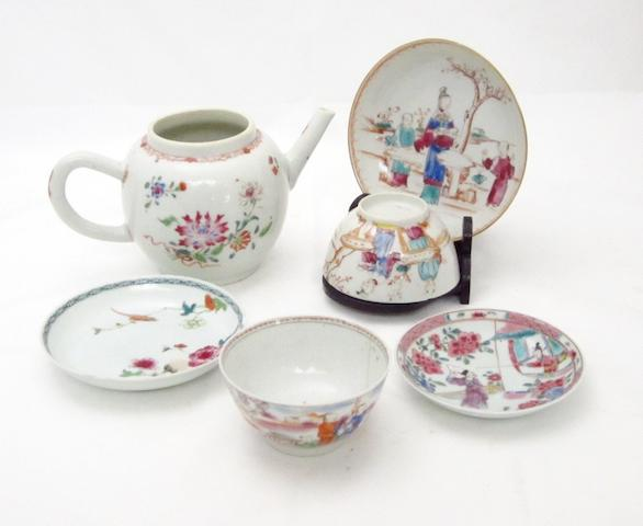 A collection of famille rose porcelain 18th century