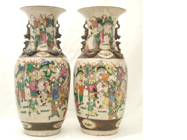 A pair of famille rose crackle ware vases Impressed Xuande marks but late 19th century