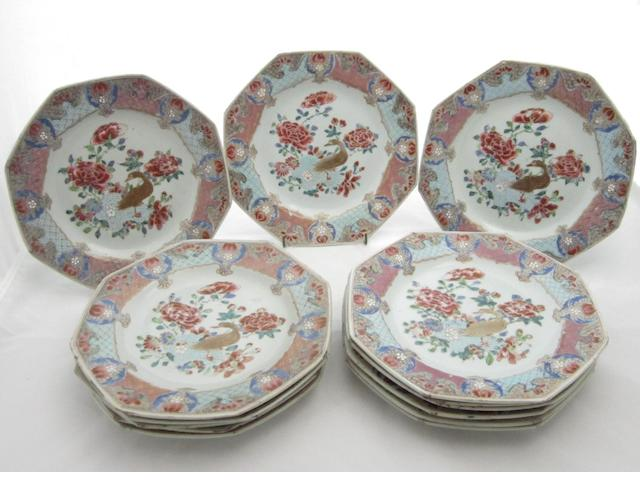 A set of fourteen export octagonal dishes Qianlong