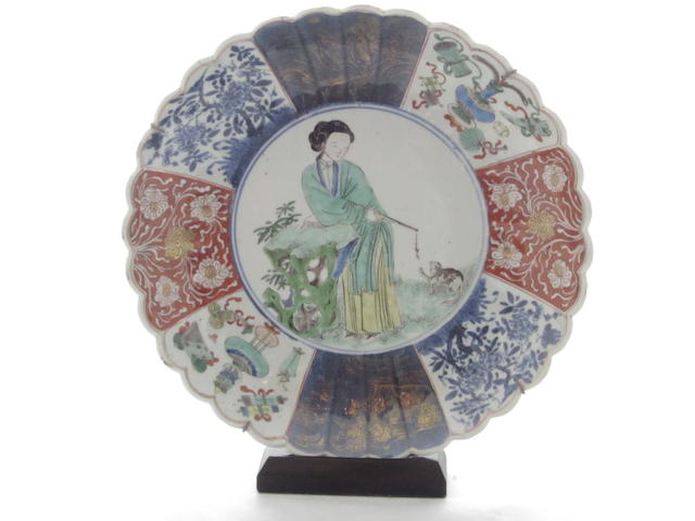 A famille verte fluted dish Kangxi