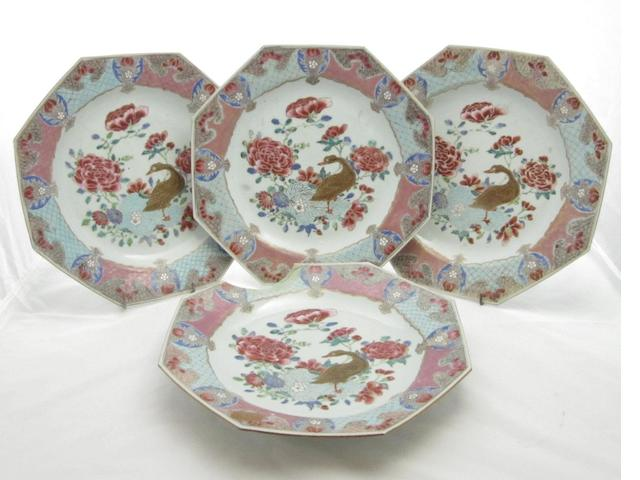 A set of four famille rose octagonal dishes Qianlong