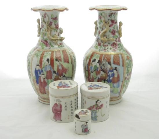 A pair of Cantonese vases and three pots with covers Circa 1860