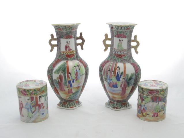 A pair of Canton famille rose lobed vases