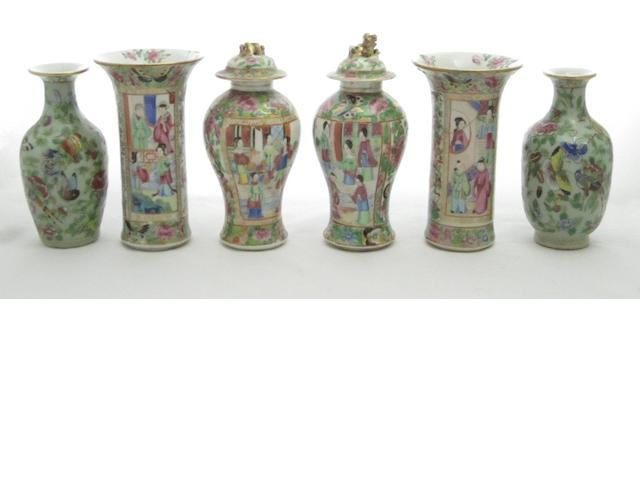 Three pairs of Canton vases
