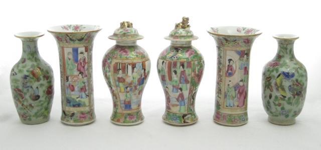 Three pairs of Canton vases