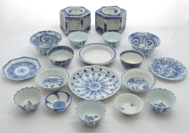 A collection of blue and white bowls and saucers 18th century and later