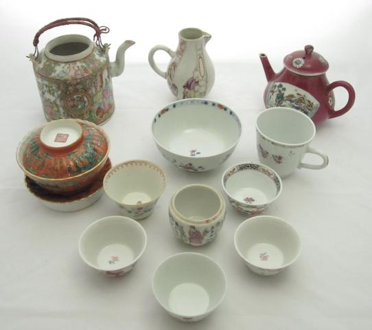 A collection of enamelled tea ware