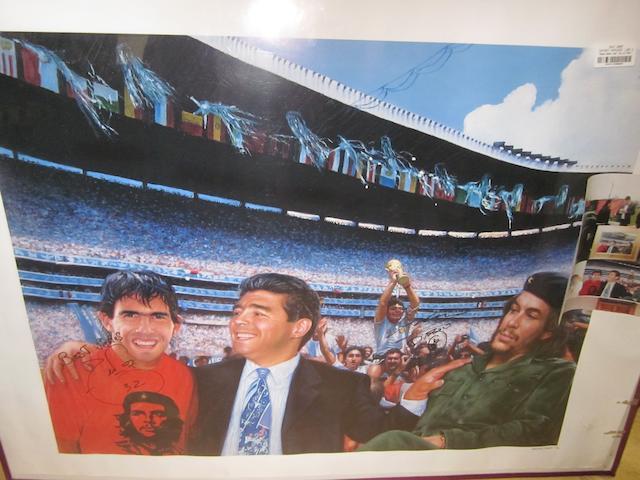 Maradona/Tevez/Che Guevara hand signed lithograph