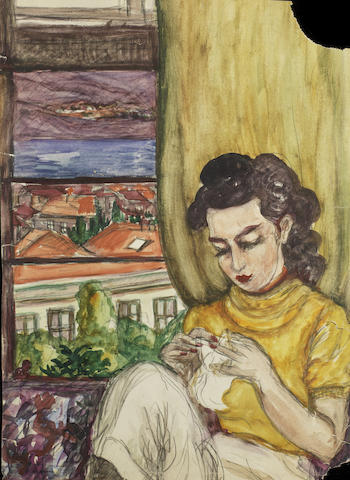 Fahrelnissa Zeid (Turkish, 1901-91) Two female portraits; a girl sewing next to a window (3)