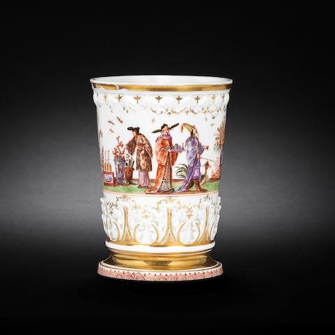 A rare Meissen large beaker, circa 1723