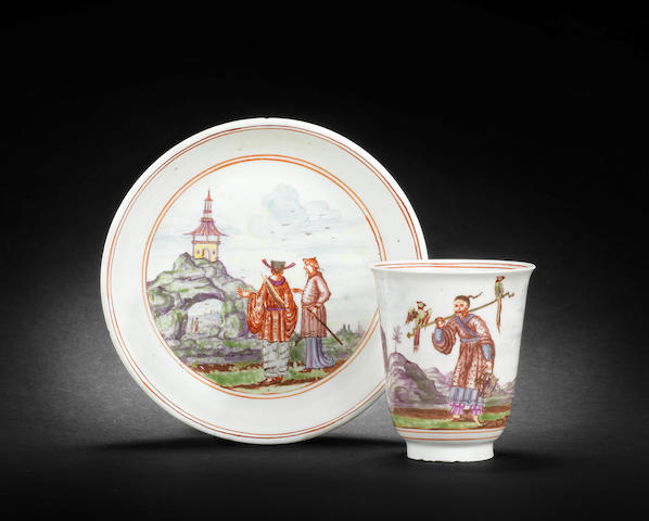 An extremely rare early Meissen beaker and saucer, circa 1720-22