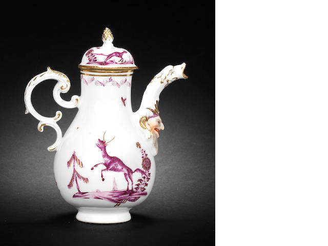 A Meissen armorial ewer and cover from the Münchhausen service, circa 1745