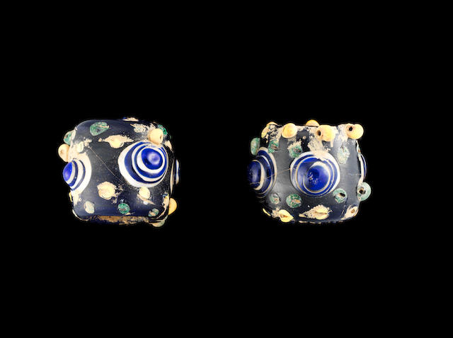 Two large Phoenician glass eye beads  2