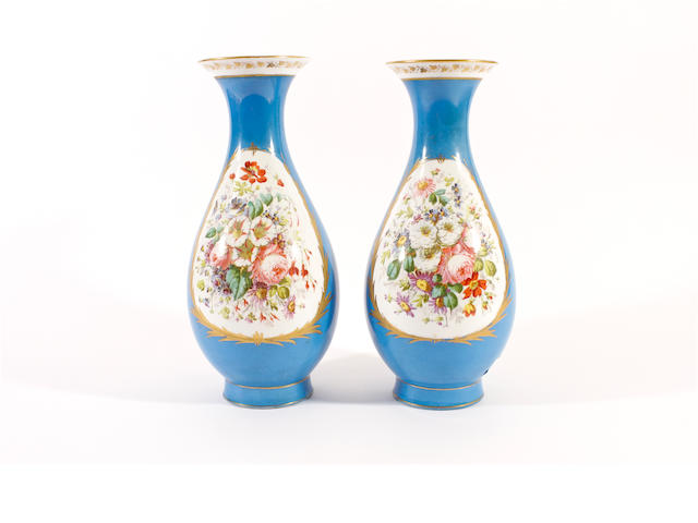 A pair of Sèvres vases, mid 19th century