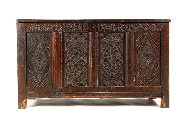A Charles II oak coffer, dated Westmorland