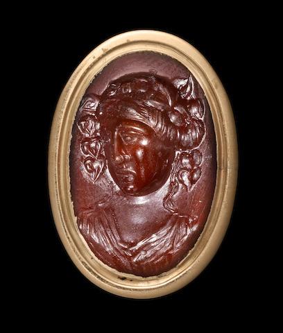 A Roman carnelian intaglio of Dionysus