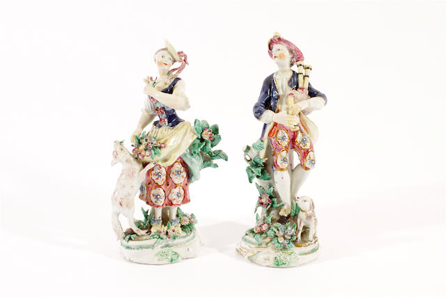 A pair of Bow figures of a shepherd and shepherdess, circa 1760,