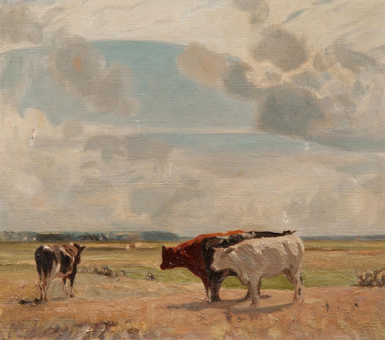 Sir John Alfred Arnesby Brown (British, 1866-1955) Cattle in a landscape