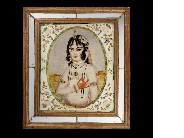 Two reverse-glass paintings in mirrored frames, depicting a maiden with a glass of wine, and a maiden holding a pomegranate Qajar Persia, mid-19th Century(2)