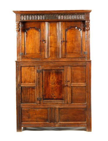 An oak press cupboard Part 17th century, Westmorland