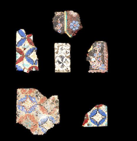 Six Roman mosaic glass fragments CHECK IF WALL REVETMENT 6