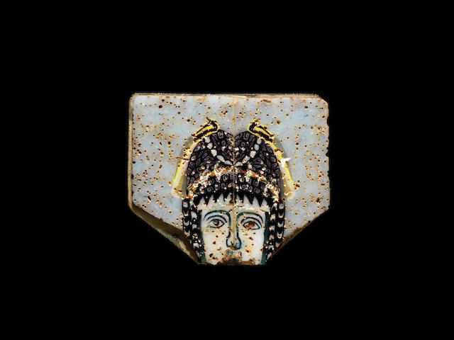 A Roman mosaic glass inlay of a female theatre mask