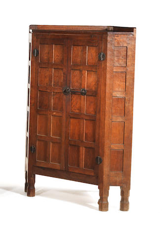 "Robert ""Mouseman"" Thompson A Large Standing Corner Cabinet, circa 1940"