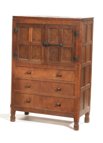 A Mouseman linen press cum chest