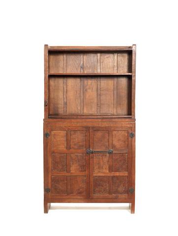 "Robert ""Mouseman"" Thompson A Cabinet-Bookcase, circa 1940"