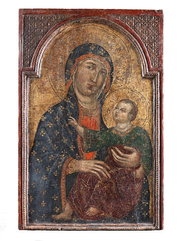 Follower of Guido da Siena (active Siena, 13th Century) The Madonna and Child, in a shaped arch in an integral frame