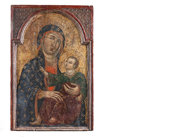 Follower of Guido da Siena (active Siena, 13th Century) The Madonna and Child  in an integral frame